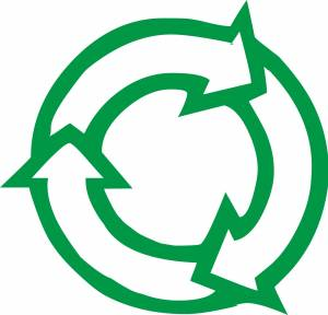 Circular arrow recycling sign