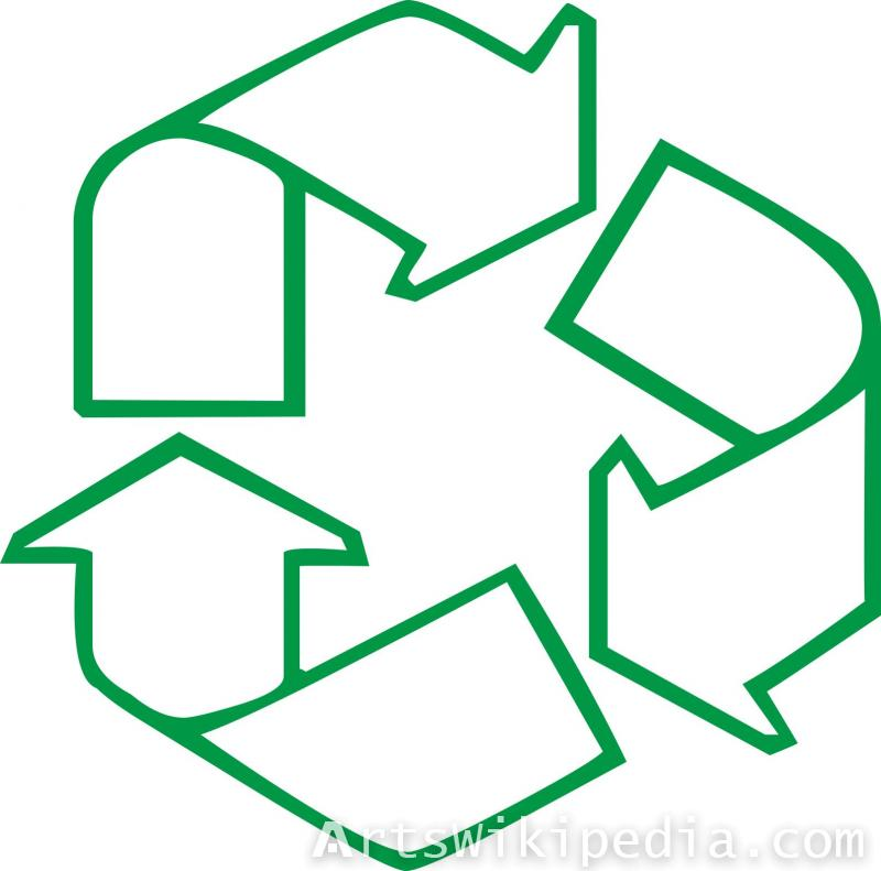 Line arrow recycling sign