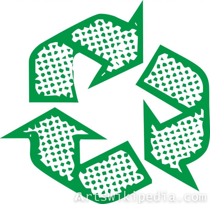 dotted recycling arrow