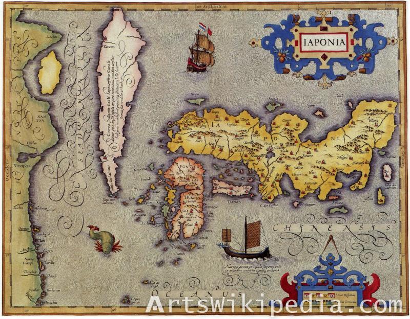old map of kaart van japan
