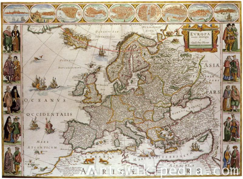 Vintage map of Europa