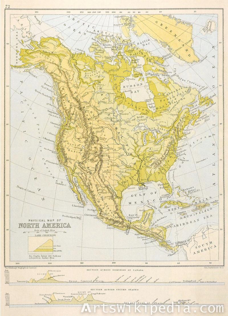Old Physical map of North America
