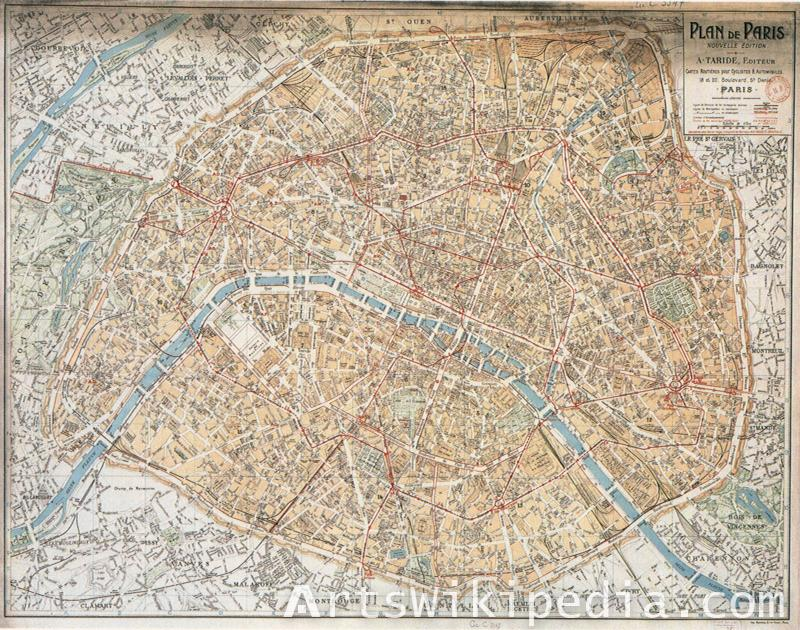 old traffic road Paris map
