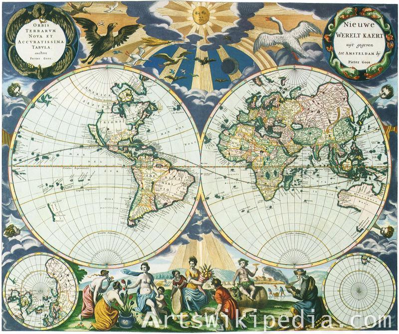 world map vintage pain