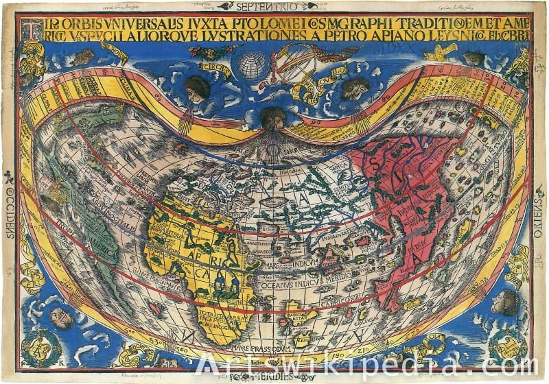 giclee painting world map