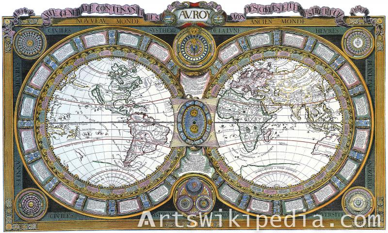 World in 1600 vintage map