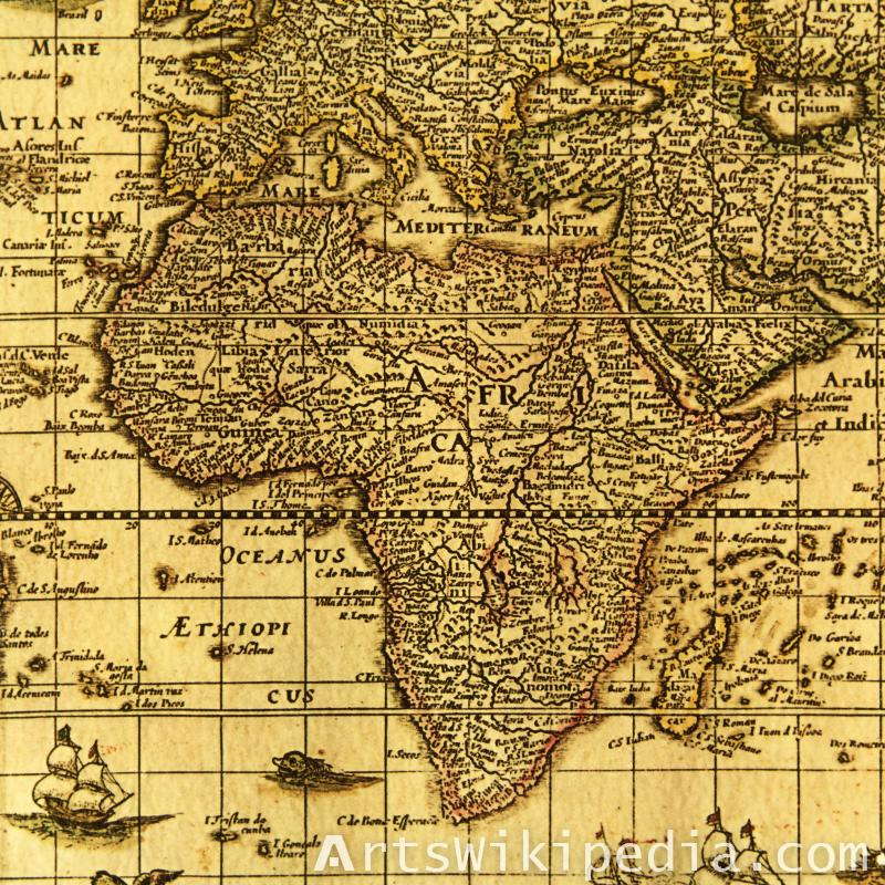Old paper Africa map
