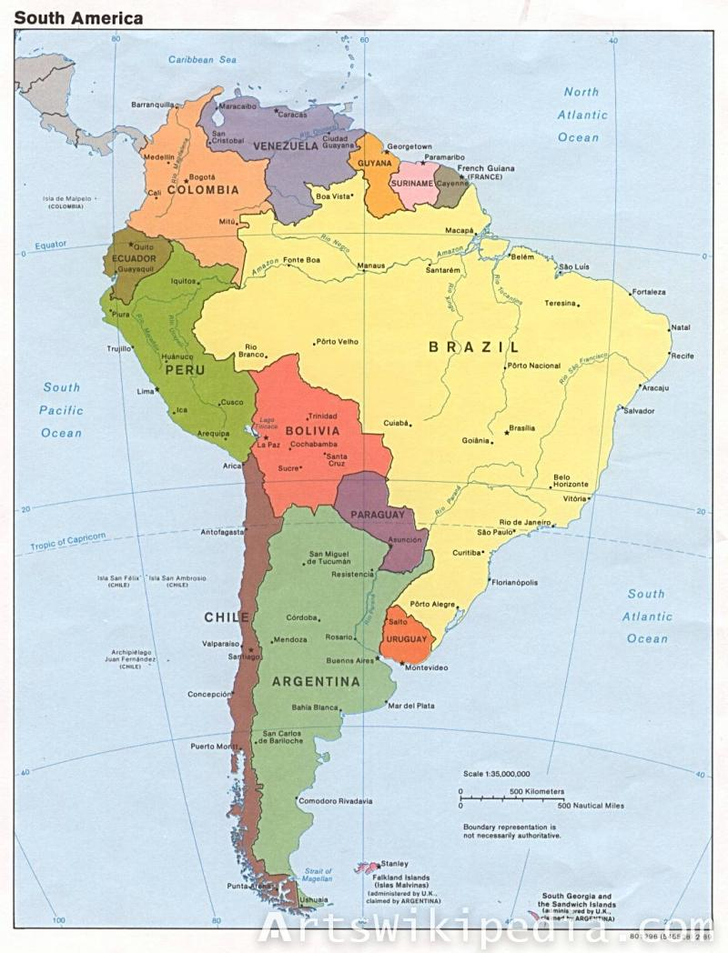 South America Earth map