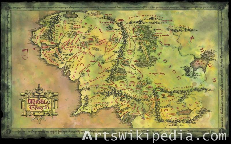 Illustration of middle earth map
