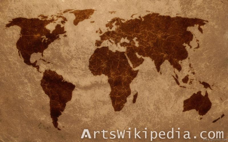 earth map brown art work