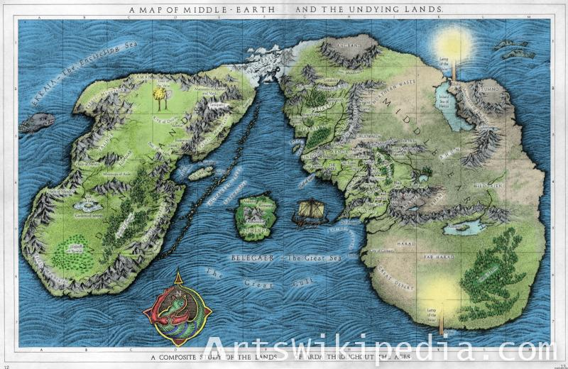 map of middle earth and underlying map