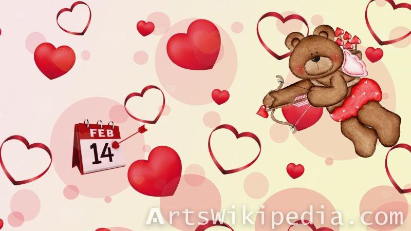 valentine day 14 FEB ,heart , romantic, arrow,bear