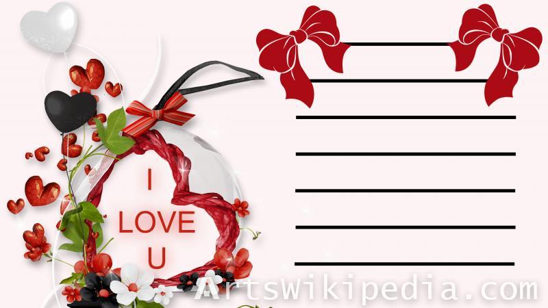 valentine ,heart , romantic , txt, Bow,line,flower