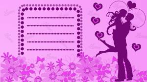 romantic couple card purple color