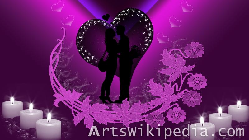 romantic couple with candles and heart wallpaper