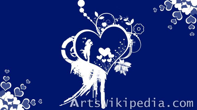 blue romantic wallpaper of lovers