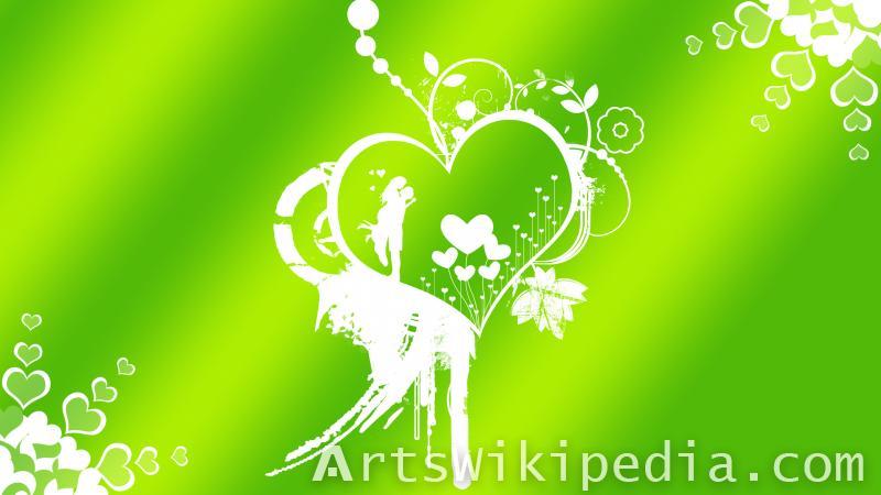 green romantic wallpaper of lovers