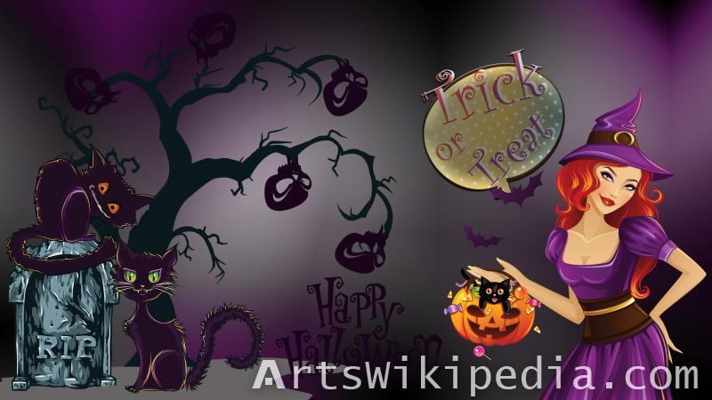 happy halloween trick or treat and candy wallpaper