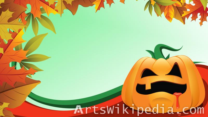 happy halloween Autumn leaves text image