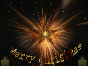 merry christmas angle with star wallpaper