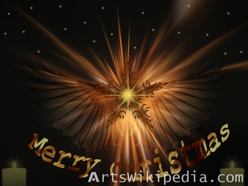merry christmas angle with star wallpaper