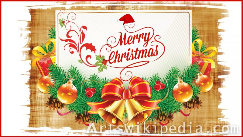 christmas decoration with wood wallpaper