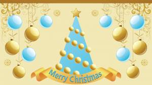 merry christmas gold & blue image