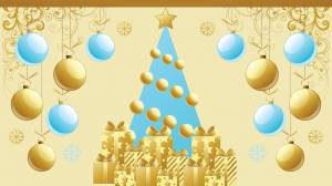 christmas tree & gifts wallpaper