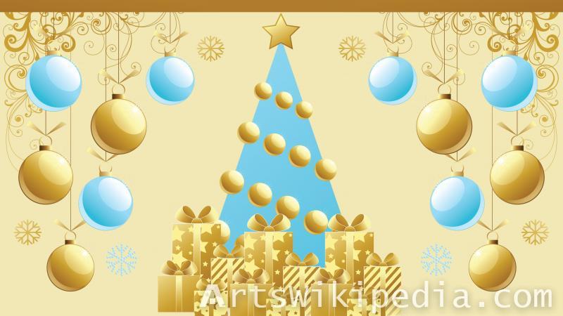 christmas tree & gifts wallpaper