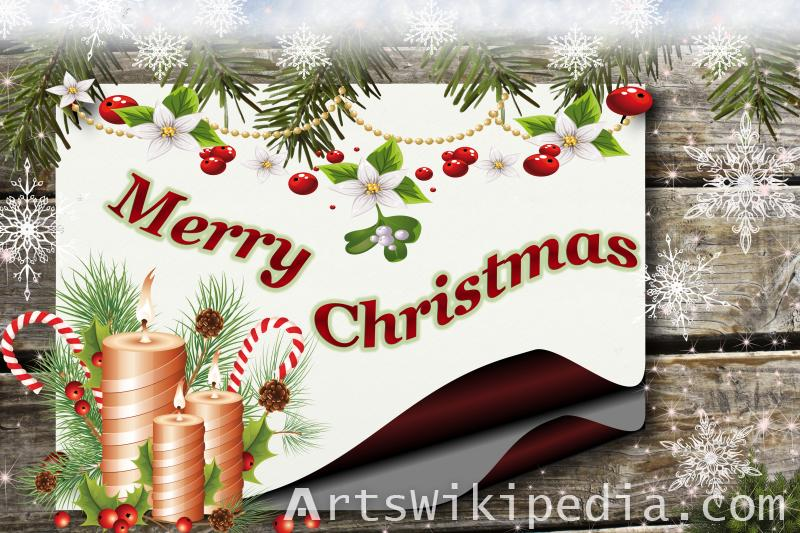 merry christmas decoration with wood picture