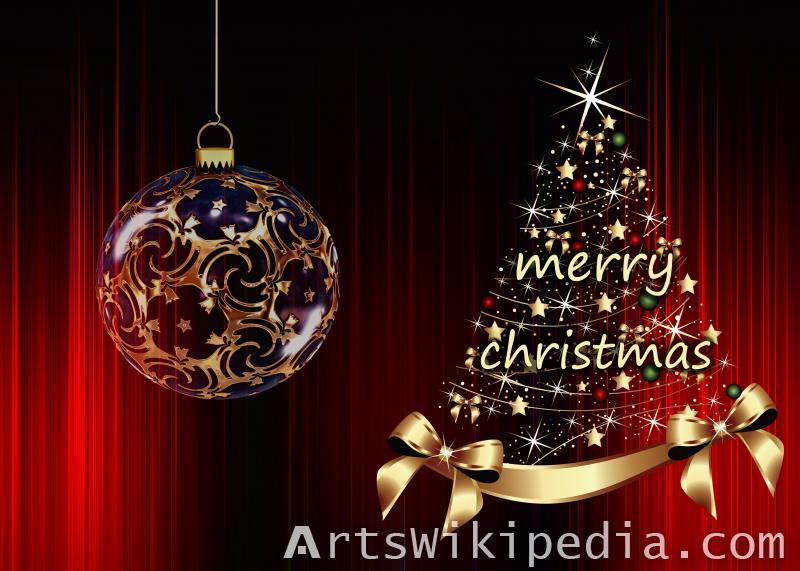 merry christmas shiny image tree & ball