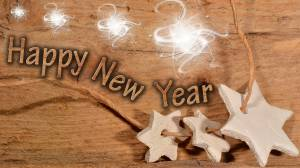 happy new year wood & stars picture