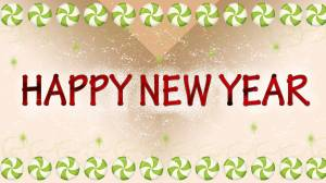 happy new year decoration with candy wallpaper