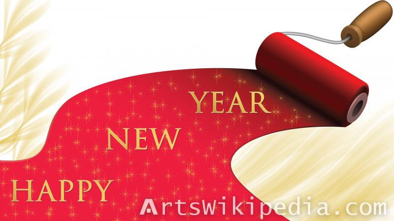paint brush happy new year wallpaper