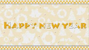 happy new year card orange & white wallpaper
