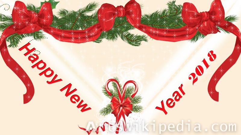 happy new year 2018 decoration bow wallpaper