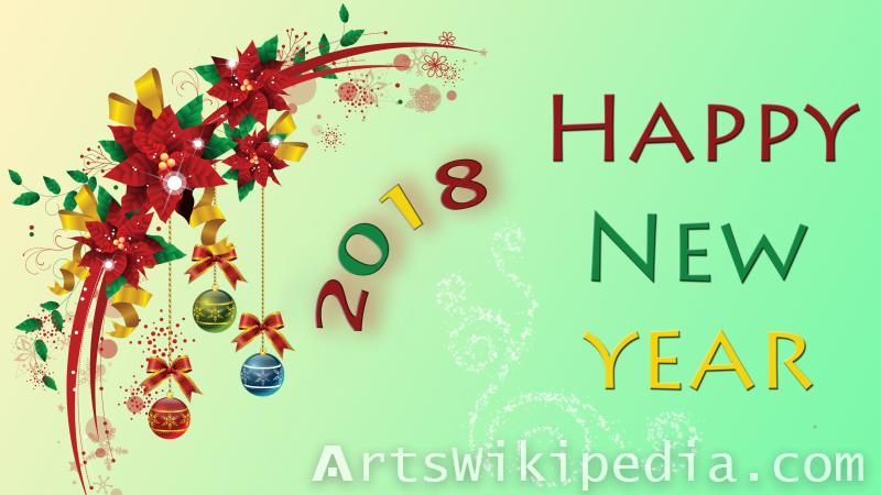 2018 new year card red ,green ,yellow wallpaper