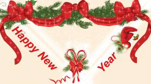 happy new year decoration red & green wallpaper