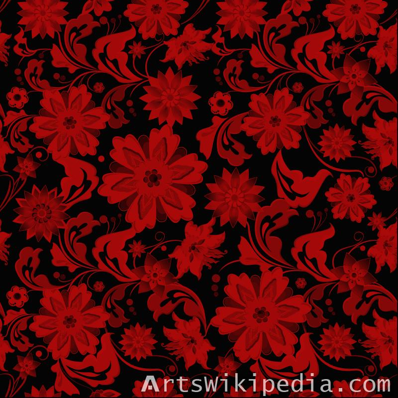 pattern flowers red and black image
