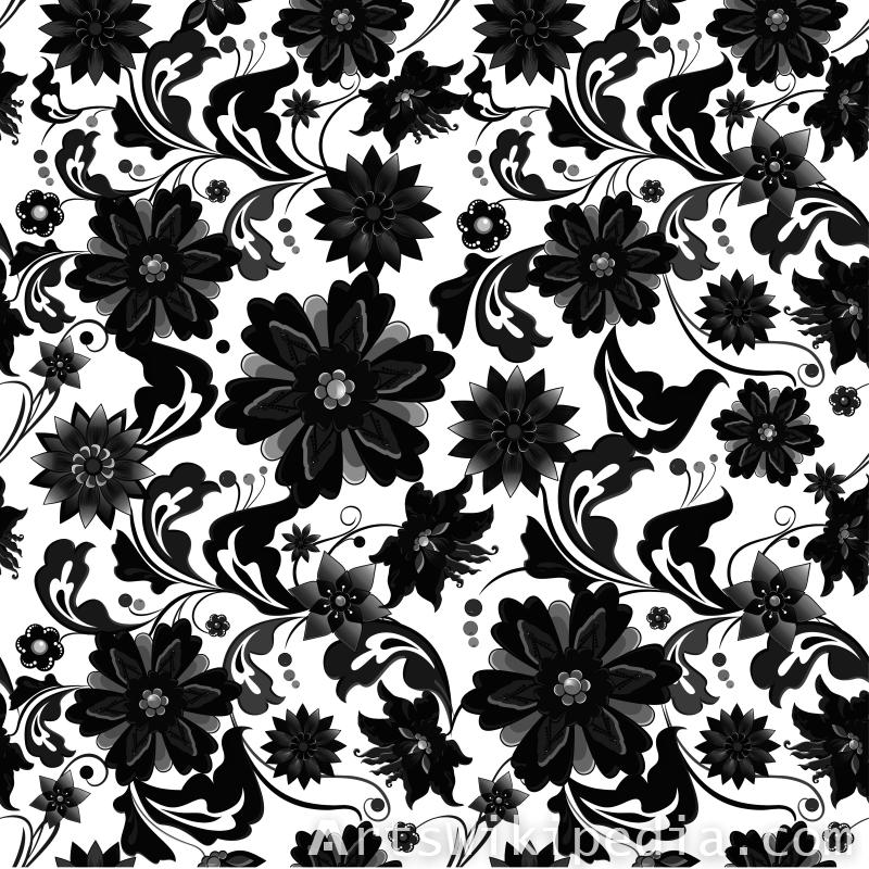 pattern flowers black and white image