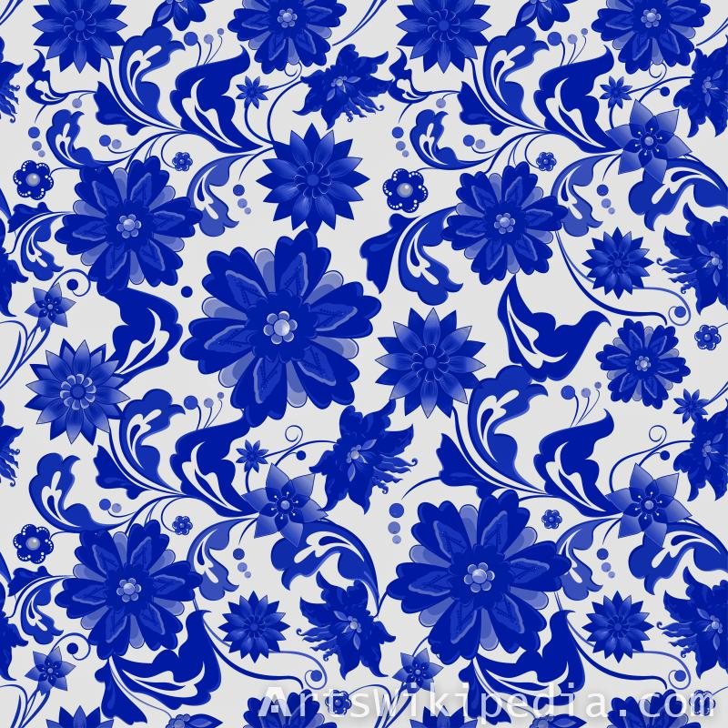 pattern flowers blue and white picture