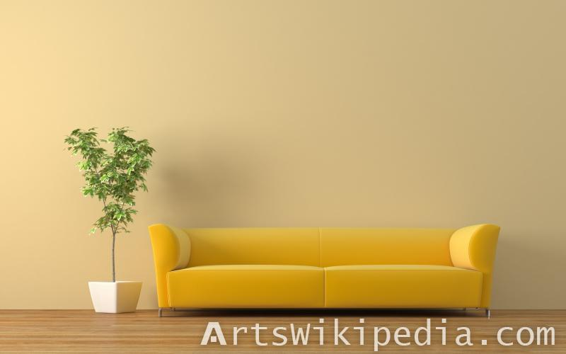 Yellow couch interior