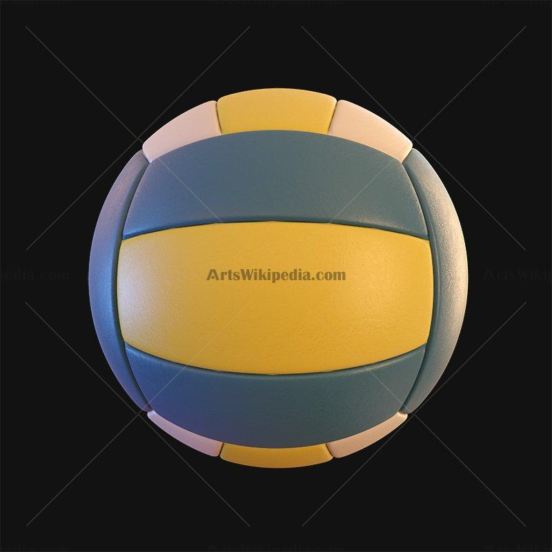 Blue and yellow volleyball clipart