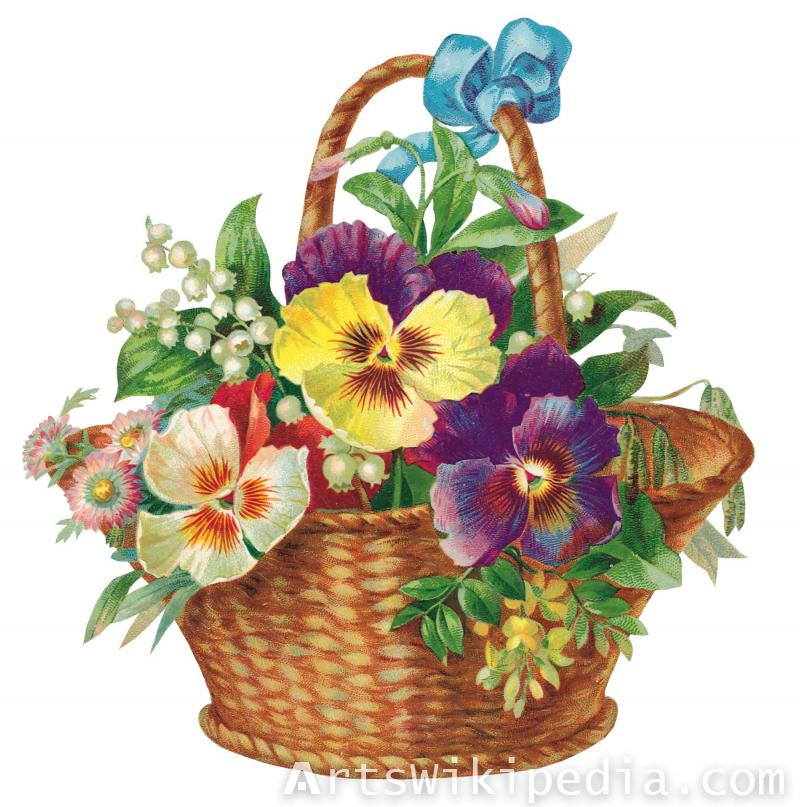flower in basket illustration