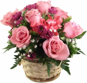pink rose basket clipart