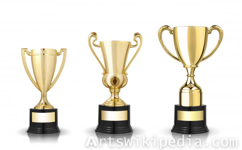 Collection of golden award cups