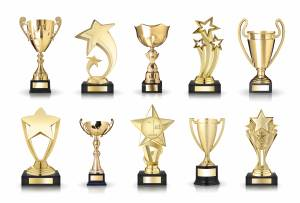 Large Collection of golden trophies