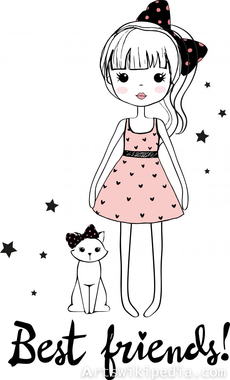 Cartoon girl with cat