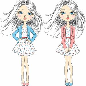 Twin long hair cartoon Girl