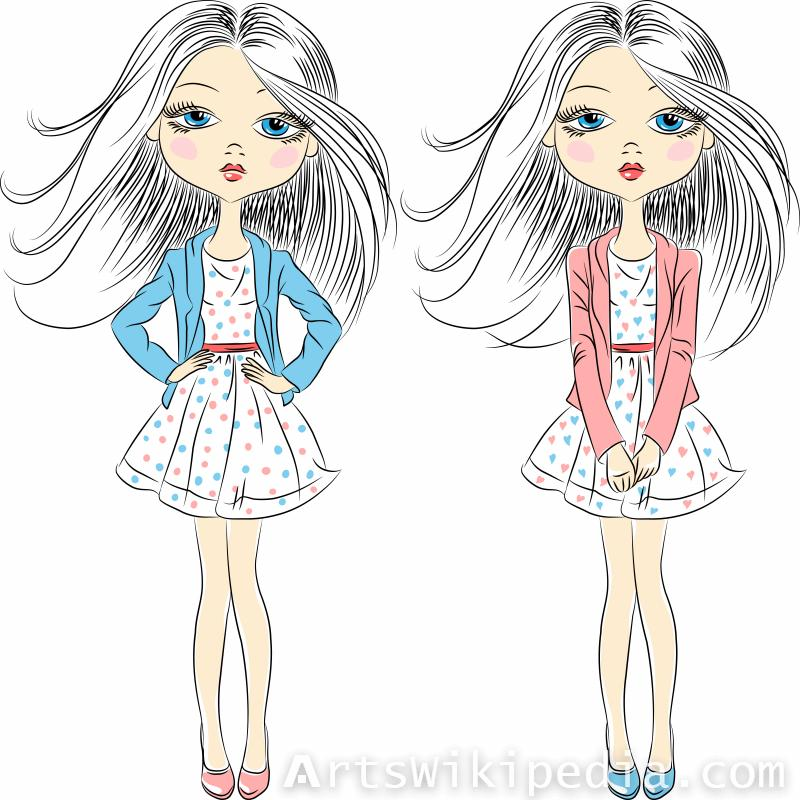 Twin long hair cartoon Girl
